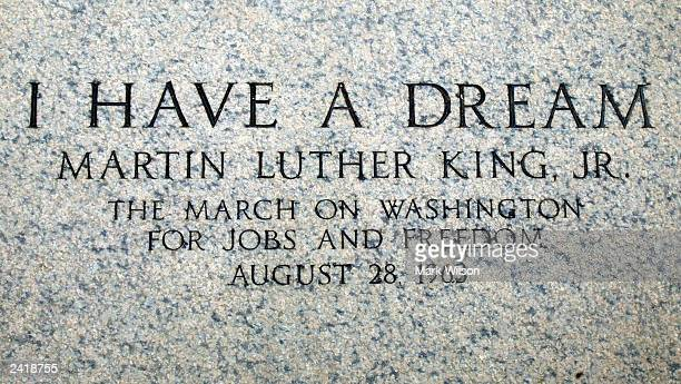 An engraving at the Lincoln Memorial marks the spot where Martin Luther King Jr made his 1963 'I Have a Dream' speech August 22 2003 in Washington DC...