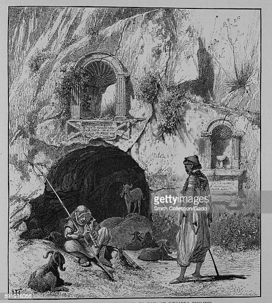 An engraving depicting a peasant playing doublereed Pandean pipes sitting while his sheep graze near a cavern at Cæsarea Philippi the sculptured...