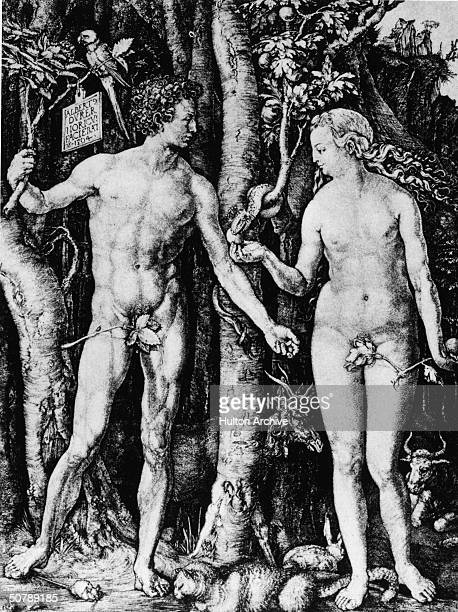 An engraving depicting Adam and Eve in the Garden of Eden by Albrecht Durer 15th century