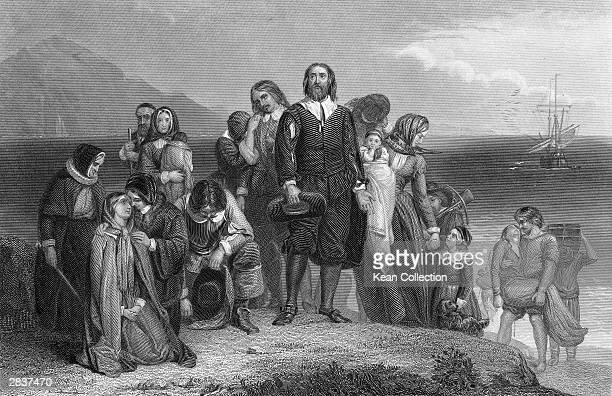 An engraving depicts the arrival of the pilgrims at Plymouth Rock on the coast of what became Massachussetts 1620