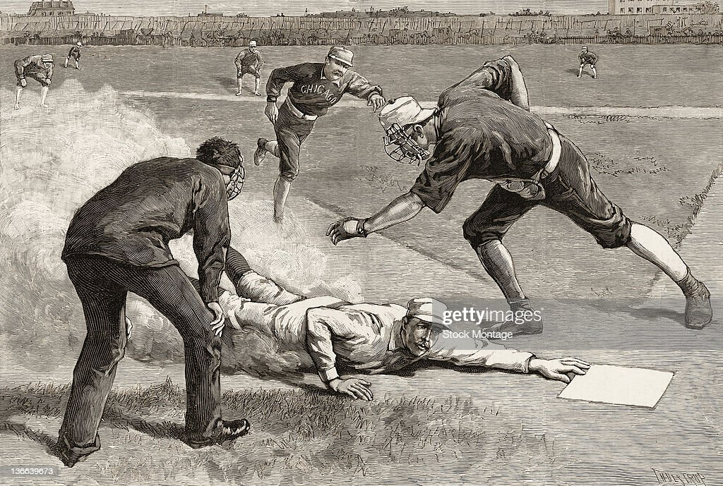 An engraving from Harper's Weekly depicts a baseball game between the New York Giants and Chicago White Stockings at the Polo Grounds New York New...