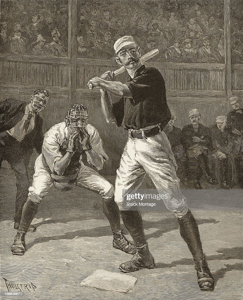An engraving from the cover of Harper's Weekly entitled 'A Ball or a Strike Which' depicts two baseball players a batter and the catcher at home...