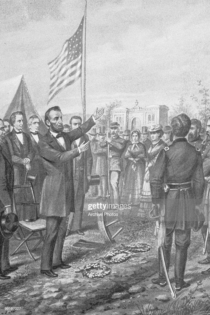 An engraving of Abraham Lincoln's Gettysburg Address on 19 November 1863.