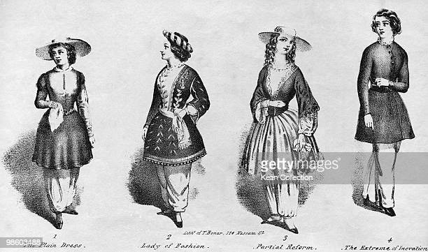An engraving of four examples of women wearing bloomers as advocated by women's rights and temperance advocate Amelia Bloomer circa 1850