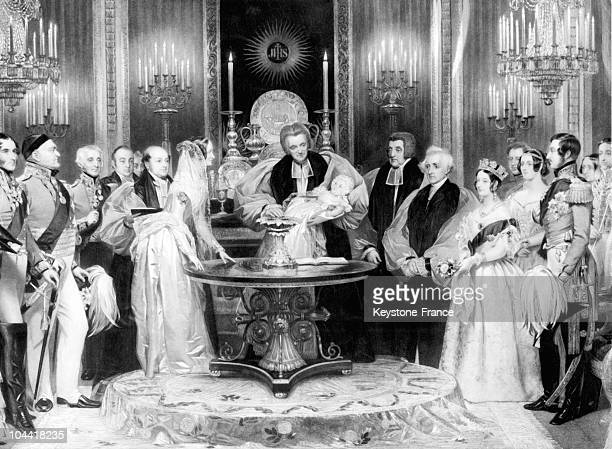 An engraving of H T RYALL inspired by a painting of LESLIE represents the baptism of VICTORIA ADELAIDE MARY LOUISE of Great Britain the first...