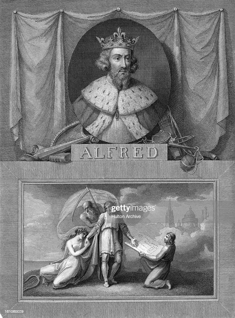 An engraving (top) of King Alfred the Great (849 - 899) of Wessex, from an imagined portrait by Raineri, circa 1835.