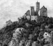 An engraving of Schloss Wartburg an 11th century castle which overlooks the town of Eisenach Germany birthplace of composer JS Bach