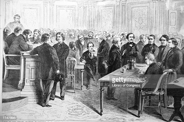 An engraving showing the impeachment trial of President Andrew Johnson in the Senate March 13 1868 The House approved 11 articles of impeachment...