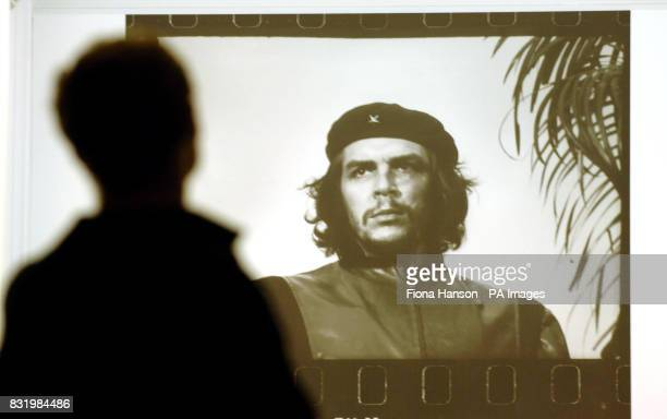 An enlargement of the iconic image of Ernesto 'Che' Guevara photographed by Alberto Diaz Korda on March 5 shortly before his death The picture is...