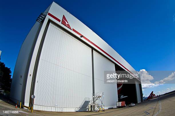 An enormous airport hangar to house jet airliners for maintenance.