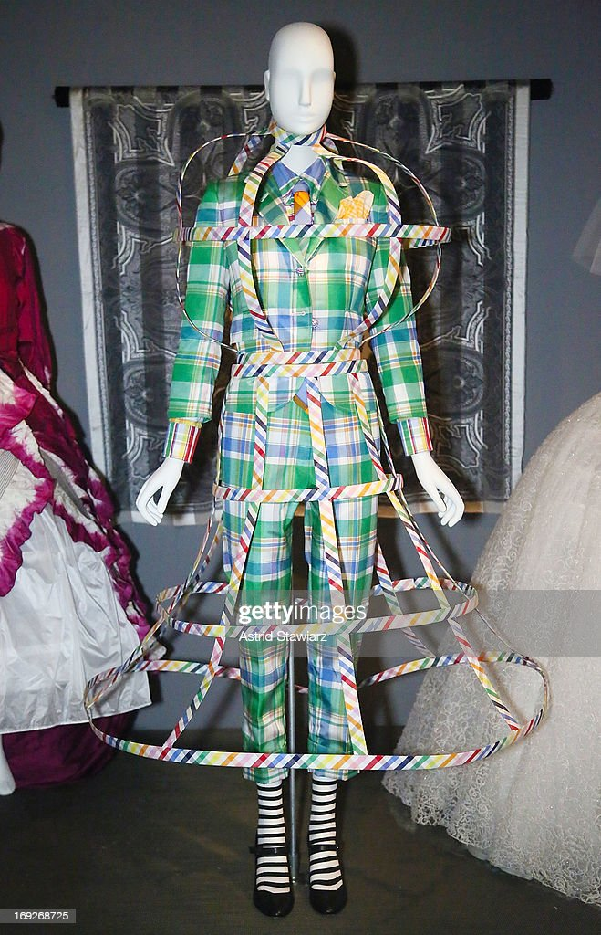 An ensemble by Thom Browne, Spring 2013 is displayed at the RetroSpective Press Preview at The Museum at FIT on May 22, 2013 in New York City.