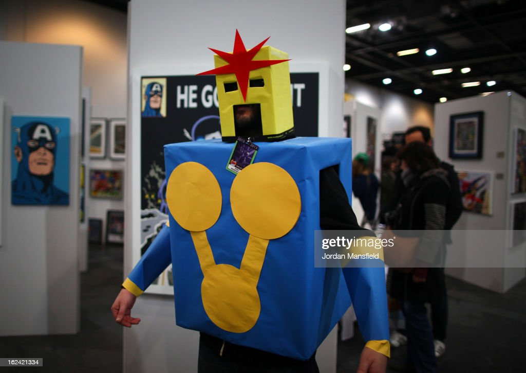 An enthusiast in costume poses for a photo at the London Super Comic Convention, at the ExCeL Centre on February 23, 2013 in London, England. Enthusiasts at the Comic Convention are encouraged to wear a costume of their favourite comic character and flock to the ExCeL to gather all the latest news in the world of comics, manga, anime, film, cosplay, games and cult fiction.