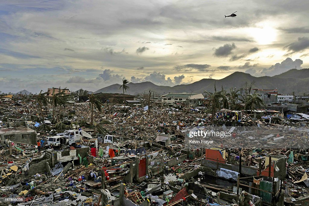An entire neighbourhood is destroyed in the aftermath of Typhoon Haiyan on November 13 2013 in Tacloban Leyte Philippines Typhoon Haiyan packing...