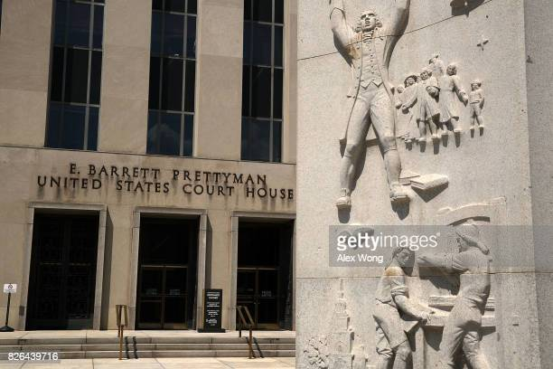 An entrance of the US District Court is seen August 4 2017 in Washington DC Special Counsel Robert Mueller has impaneled a grand jury to investigate...