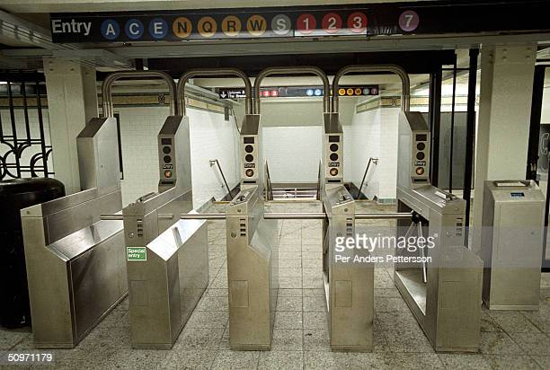 An entrance to the Times Square subway station the largest and busiest in NYC during rush hour on is seen May 17 2003 in New York City The station...