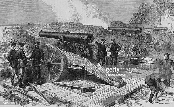 An entrenched Prussian siege artillery battery sighting it's guns on Paris at the siege of Paris during the FrancoPrussian War on 1 October 1870 at...