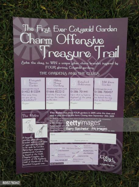 An entry form for The Cotswold Garden Charm Offensive Treasure Trail a commemorative treasure hunt for a speciallycommissioned silver bracelet