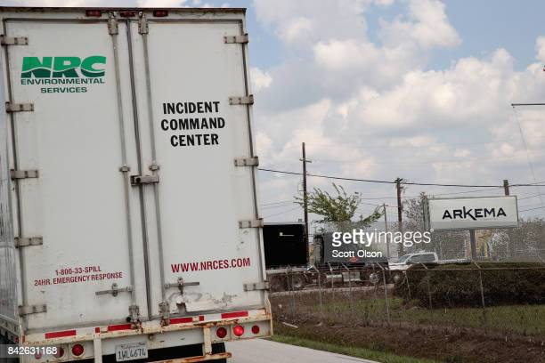 An environment services vehichle enters the main gate of the Arkema plant which received major damage from flooding caused by Hurricane and Tropical...