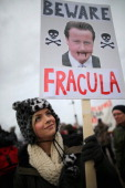 An environmental campaigner takes part in a protest march near to the IGas Barton Moss fracking exploration rig on January 26 2014 in Salford England...