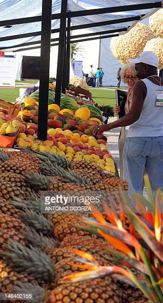 An environmetalist checks organic fruits displayed at the Parque dos Atletas area where different countries present plans and projects for a 'green'...