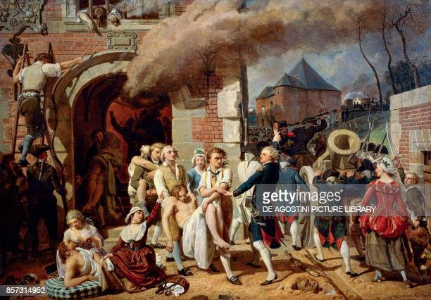 An episode during the Bombardment of Lille in 1792 wounded and victims painting by CharlesCesar Benvignat oil on canvas
