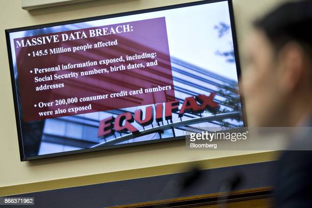 An Equifax Inc slide is displayed on a monitor during a House Financial Services Committee hearing in Washington DC US on Wednesday Oct 25 2017 The...