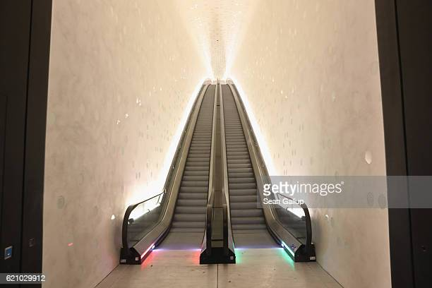 An escalator leads up at the newlycompleted Elbphilharmonie concert hall on November 4 2016 in Hamburg Germany Designed by the archiecture firm...