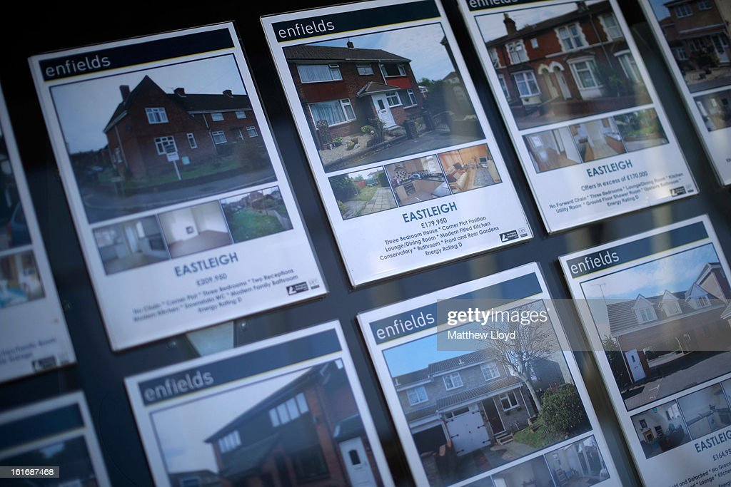 An estate agents window displays properties on February 14, 2013 in Eastleigh, Hampshire. A by-election has been called in the constituency of Eastleigh after it's former MP, Chris Huhne, resigned after pleading guilty to perverting the course of justice over claims his ex-wife took speeding points for him in 2003.