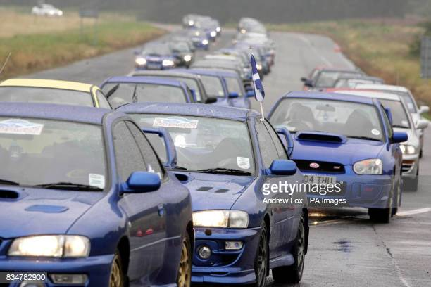 An estimated 1300 Subaru car owners make their way to the Prodrive test track in Banbury Oxfordshire to pay tribute to the late Scottish rally driver...