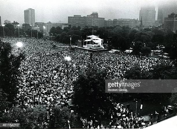 An estimated crowd of 400000 people listen to Pope John Paul II say Mass on the Boston Common The Mass the first celebrated by a Pope in Boston...