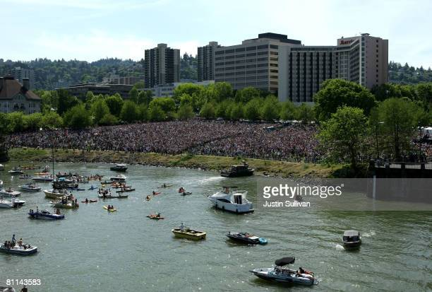 An estimated crowd of nearly 75000 crowded Waterfront Park to see democratic presidential hopeful US Sen Barack Obama speak at campaign rally May 18...