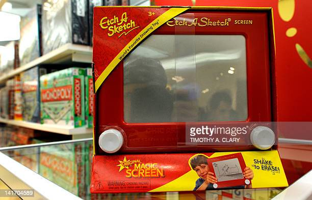 An 'Etch A Sketch ' is for sale at FAO Schwarz in New York City on March 22 2012 French electrician André Cassagnes created the toy in the late 1950s...