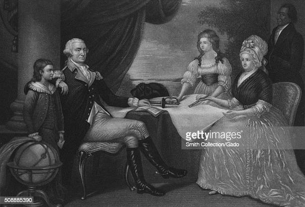 An etching from a family portrait of George Washington with Martha Washington seated opposite him his arm rested on the shoulder of his stepgrandson...