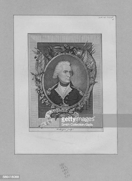 An etching from a portrait of Alexander Hamilton wearing his military uniform the portrait is surrounded by an ornate illustrated picture frame that...