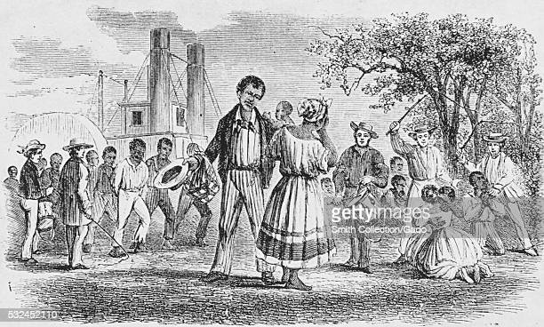 An etching that depicts a slave woman in distress after she has been sold to a slave owner further south a man plays a drum while two other white men...