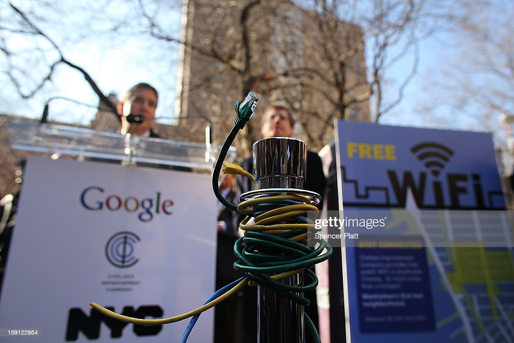 An ethernet cable is seen at a news conference where it was announced that free Wi-Fi will be provided by Google to the Manhattan neighborhood of Chelsea on January 8, 2013 in New York City. Google has teamed up with the Chelsea Improvement Project, a local New York City non-profit and the city government to provide free Wi-Fi to the historic neighborhood. The network will become the largest public outdoor service of its kind in New York, and the first neighborhood in the city with free WiFi.