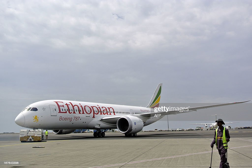 An Ethiopian Airlines Dreamliner jet is pictured ahead of its take off on April 27 at Addis Ababa's Bole International Airport The carrier became the...