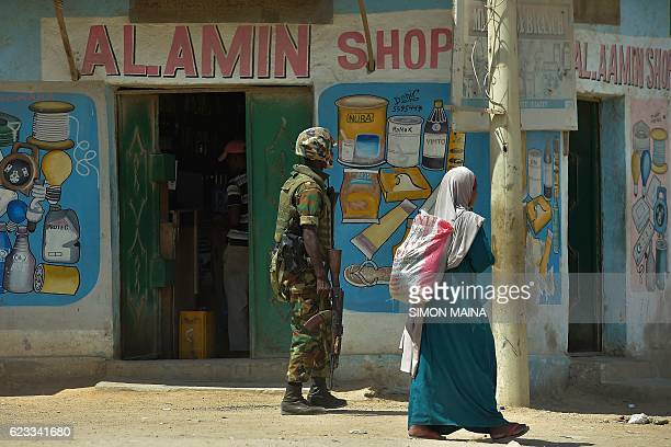 An Ethiopian member of the African Union peacekeeping force patrols the streets of Kismayo on November 15 2016 Somalia is in the process of selecting...