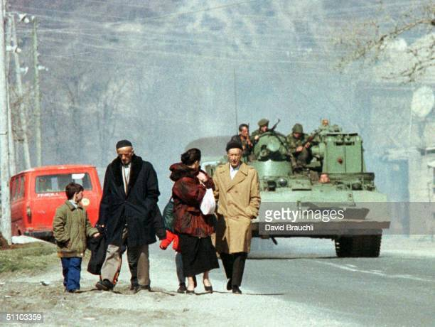 An Ethnic Albanian Refugee Family From Gajre A Village Which Was Shelled By Serb Forces Last Weekend Trudge Towards The Border With Macedonia In...