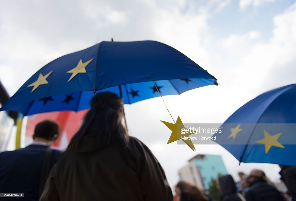 An EU umbrella is seen during an anti-Brexit rally on June 28, 2016 in Cardiff, Wales. The protest is at a time of economic and political uncertainty following the referendum result last week, which saw the UK vote to leave the European Union.