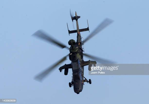 An Eurocopter Tiger military attack helicopter of the Army of the German Bundeswehr takes off for a demonstration for Representatives of the OSCE at...