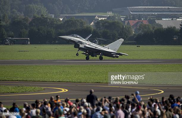 An Eurofighter Typhoon of the Austrian Airforce is seen during the Airshow 'Airpower 16' on September 2 in Zeltweg Austria / AFP / APA / ERWIN...