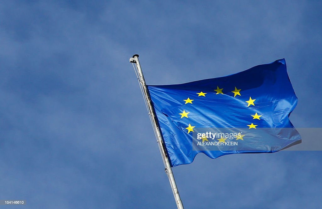 An European Union flag is seen in Vienna on October 15, 2012.
