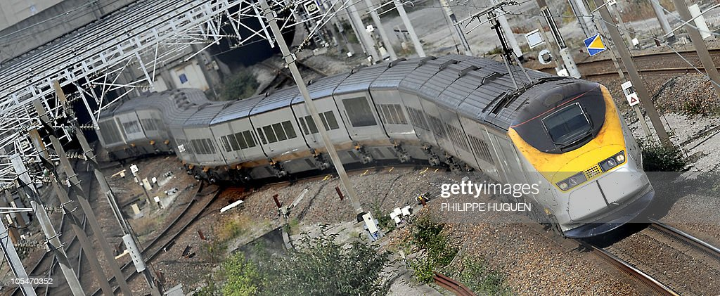 An Eurostar train arrives in French town Coquelles after coming out of the Channel Tunnel on September 13 2008 as traffic resumes today in firehit...