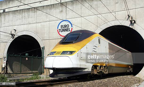An Eurostar train emerges from the Eurotunnel 13 July 2006 in Coquelles northern France Eurotunnel was to 'place itself under the protection of the...