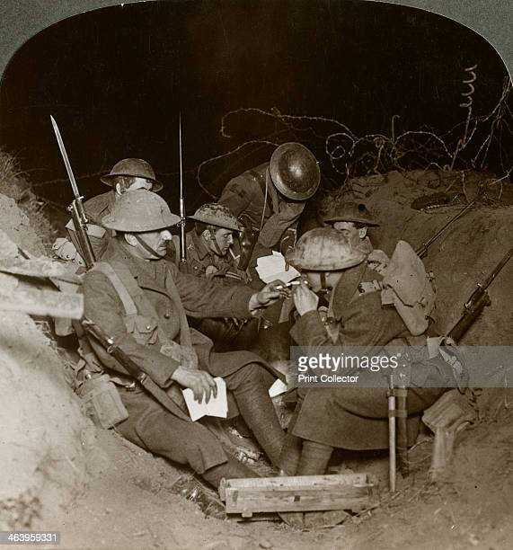 An evening in the reserve trenches at Beaumont Hamel France World War I 19141918 Stereoscopic card detail
