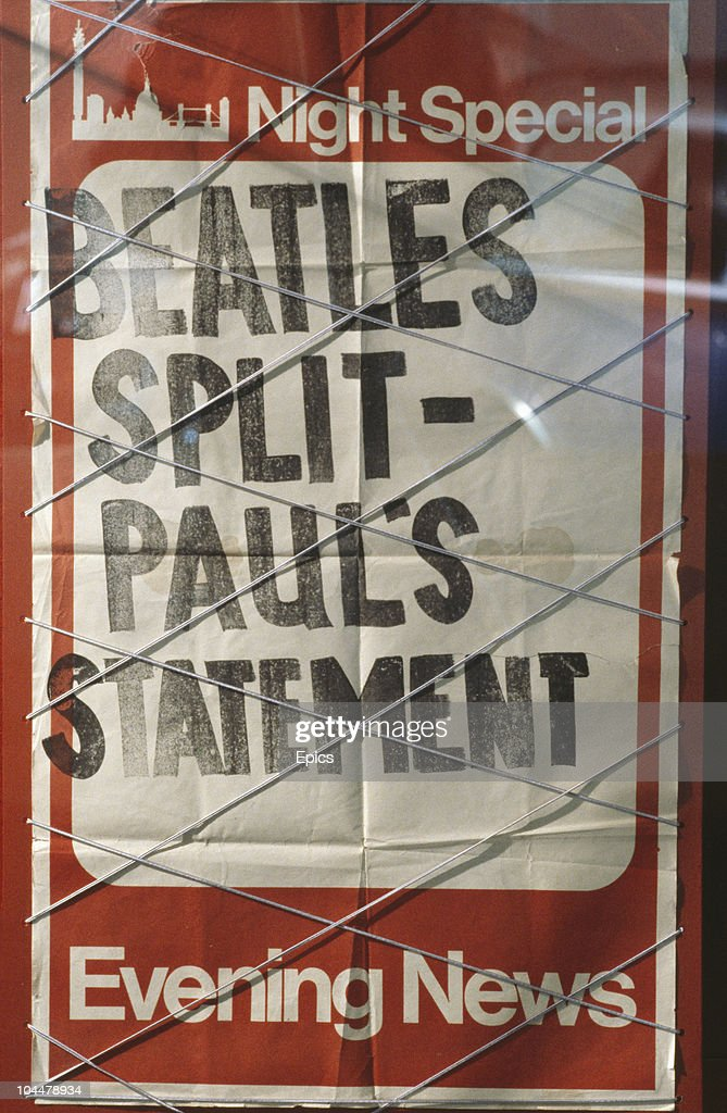 An Evening News night special headline announces Paul McCartney's statement on the Beatles split, circa 1970.