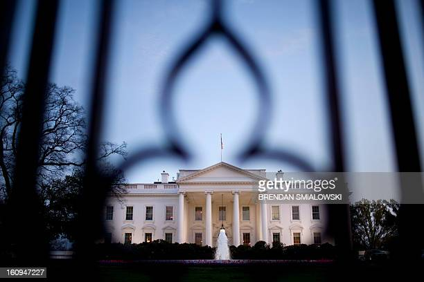 An evening view of the White House March 22 2012 in Washington DC President Obama was returning from a two day trip to Nevada New Mexico Oklahoma and...