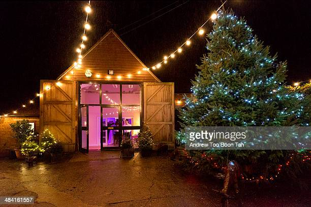 An evening wedding reception at Monkton Barn in the riverside town of Marlow England UK