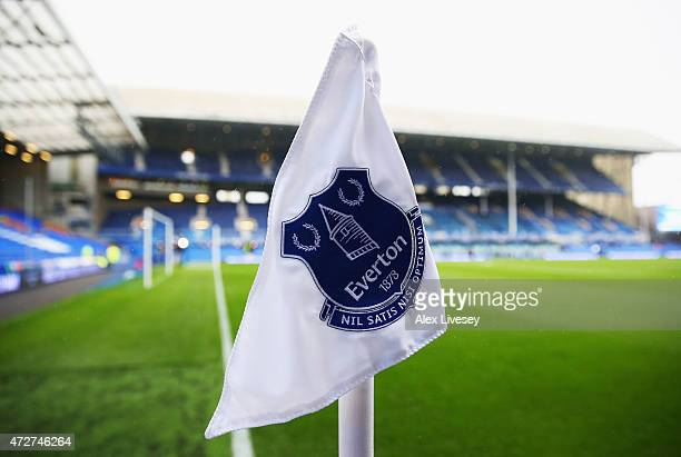 An Everton corner flag is pictured prior to the Barclays Premier League match between Everton and Sunderland at Goodison Park on May 9 2015 in...
